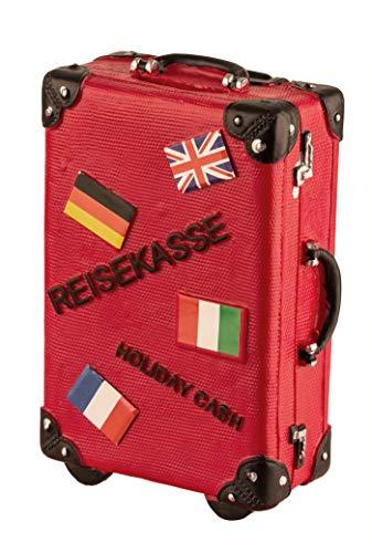 wurmbigdean Spardose Koffer in Rot aus Polyresin - 15 x 10 x 5,5 cm - Reisekasse für Geldsparer - Robust & stabil - Handbemalt - Für Globetrotter & Viel-Reiser - Ideales Geldgeschenk