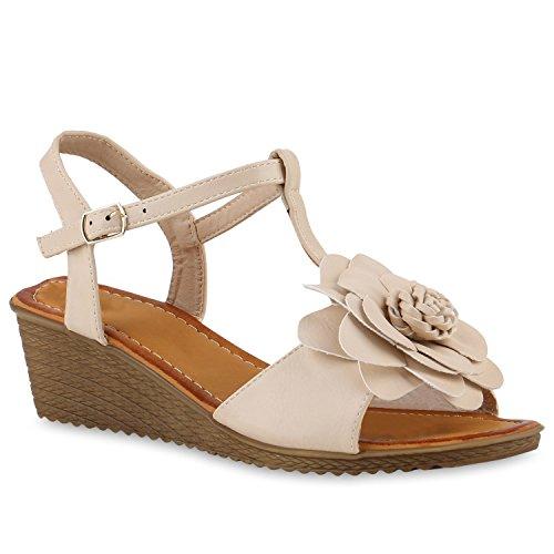 Damen Keilsandaletten Sandaletten Denim Bast Leder-Optik Blumen Keilabsatz Sandalen Wedges Strass Schuhe 143298 Creme Blumen 39 Flandell