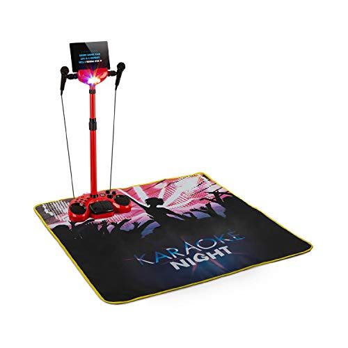auna Kara Super Star • Karaokesystem mit Fußsteuerung • 2 x 2,5 Watt RMS • USB-Port • Bluetooth • AUX • Karaoke-Matte mit LED-Leuchten • Mikrofonständer • 2 x dynamische Handmikrofone • rot