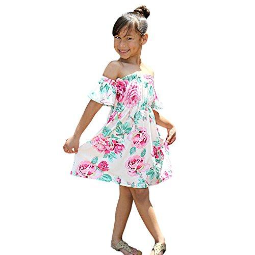 (Mama & Ich Baby Mädchen Kinder Floral Schulterfrei Familie Kleid Sommerkleid Kleidung)