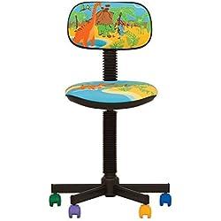 BAMBO- Chaise DE Bureau Enfant Ergonomique, Hauteur du SIÈGE 42 cm-56 cm. Hauteur Dossier RÉGLABLE/PIVOTANT A 360°/ roulettes Multicolores. Prix Discount. (Dino/Bleu)