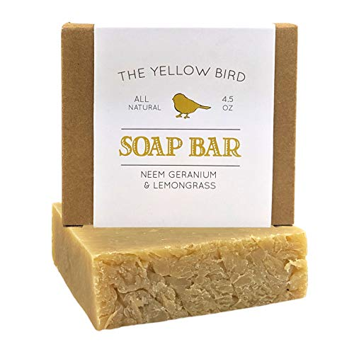 Artisan Neem Soap Bar. Hydrating Reparative Face & Body Wash. With Geranium, Lemongrass, and Gingergrass Therapeutic Essential Oils. All Natural & Organic Ingredients. by The Yellow Bird -