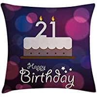 21st Birthday Decorations Throw Pillow Cushion Cover, Happy Birthday Quote with Stars on Abstract Pink