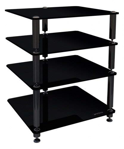 Norstone Bergen 2 4 Shelf for Hi-Fi Systems - Glossy Black