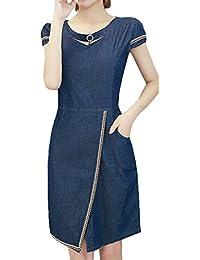 Scothen Damen Jeans Skirt Frauen Langarm Slim Denim Jeans Party Minikleid  Jeans Bluse Frühling Sommer Elegant Bodycon Jeanskleid Knopf… e26dc425a7