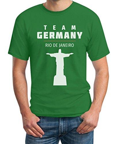 Fanartikel Team Germany Rio Jesus 2016 Olympia Fan Motiv T-Shirt Grün