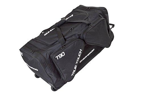 SHER-WOOD - Eishockeytasche T 90 True Touch mit Rollen I Tasche für Hockeyschläger I Hockey Bag aus Nylon I Transporttasche für Eishockeyausrüstung I für Eishockeyschläger I Schwarz - 230 Liter (L)