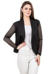 Texco black waterfall open front lace long sleeves jacket