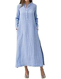 Yuutimko Womens Kaftan Cotton Long Sleeve Plain Casaul Oversized Maxi Long Shirt Dress with Pocket Party
