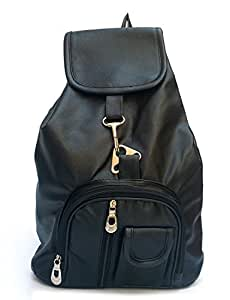 Vintage Stylish Girls Synthetic School / College Bag (In Four Colors)(Bag R 124) (Black)
