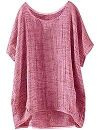 Camiseta Manga Corta del Palo de Las Mujeres, Camiseta Floja Superior Ocasional de la Blusa de la Sección Floja…