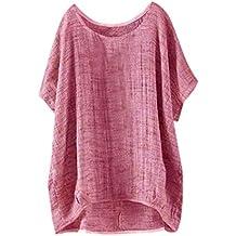 Camiseta Manga Corta del Palo de Las Mujeres, Camiseta Floja Superior Ocasional de
