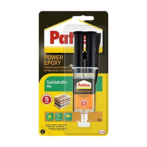 Pattex Power Epoxy Saldatutto Mix 5 minuti forte colla epossidica bicomponente elevata tenuta finale colla multiuso adatta per quasi ogni materiale