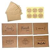 NUOBESTY Lot de 18 cartes de remerciement rétro en papier kraft pour fête d'anniversaire Motif fleurs...