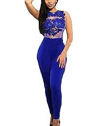 6ab6c204b6f Laisla fashion Monos De Vestir Mujer Largo Elegante Clásico Especial Verano  Sin Mangas Cuello Redondo Encaje Fiestas Skinny Mono Jumpsuit Ropa…