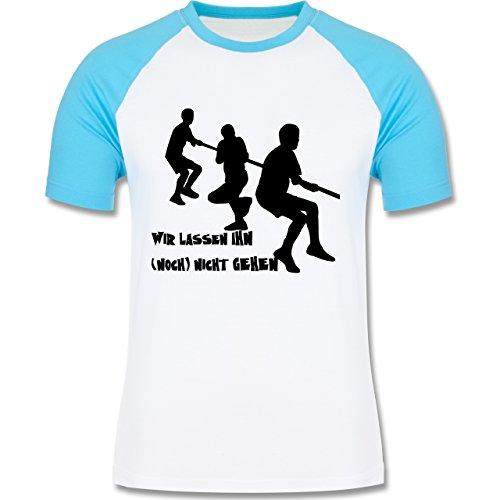 JGA Junggesellenabschied - Wir lassen ihn noch nicht gehen - zweifarbiges Baseballshirt für Männer Weiß/Türkis