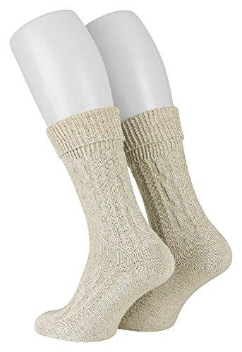 Tobeni 1 Paar Trachtensocken Socken kurz mit Umschlag und Zopfmuster Baumwolle-Leinen meliert für Damen und Herren Farbe Natur Meliert Grösse 39-42 - 2