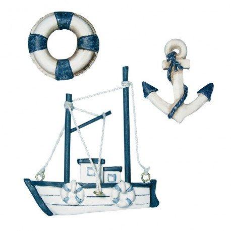 lot-de-3-miniatures-bouee-de-sauvetage-ancre-et-bateau-en-resine-creme-et-bleu-marine-4-75cm