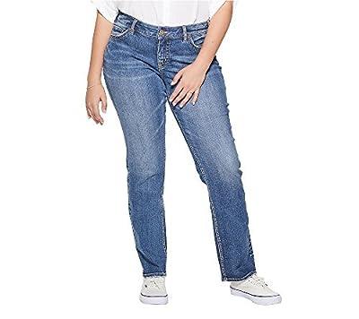 Silver Jeans Co. Women's Plus Size Suki Curvy Fit Mid Rise Straight Leg Jeans