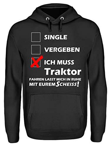 Hochwertiges Traktorfahrer Shirt - Unisex Kapuzenpullover Hoodie -M-Jet Schwarz