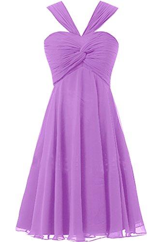 Missdressy Damen Zwei-Traeger Chiffon Abendkleid Kurz Brautjungfernkleid Partykleid Lavendel
