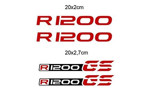 KIT 4 ADESIVI R 1200 STICKER DECAL R 1200 GS 20x2 cm GP-049 (Red)