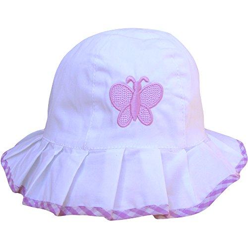 Butterfly Beanie Baby (Strandhut für Babys, für kleine Mädchen, mit Rüschen, mit Schmetterling-Design, für Sommer, Sonne, Strand Gr. Einheitsgröße, White & Lilac Butterfly)
