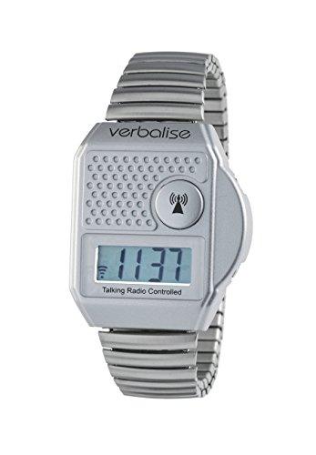 Verbalise Funk-Armbanduhr, sprechend, mit Knopf oben, silberfarben (Oben Knopf)