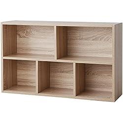 VASAGLE Bibliothèque à 5 casiers, Étagère de Rangement, Colonne de Rangement, Dimensions 50 x 24 x 80 cm (L x l x H), Teinte Chêne, LBC25NL