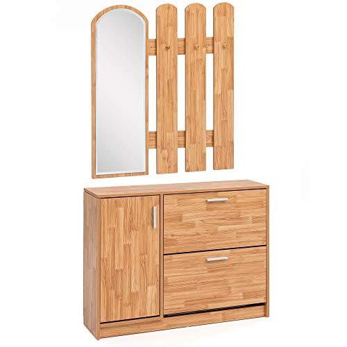 WOHNLING WL5.821 Porte Manteau En Bois 90 X 172 X 24 Cm U2013 Design à Bascule  Avec Porte Manteau U2013 Miroir Mural De Vestiaire | Miroir De Vestiaire Avec  Armoire ...