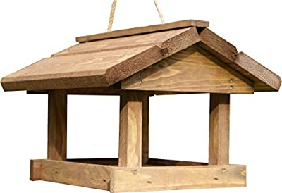RADO WOOD | Traditional Wooden Wildbird Feeder. Garden Birdhouse Table Hanging with roof. by -