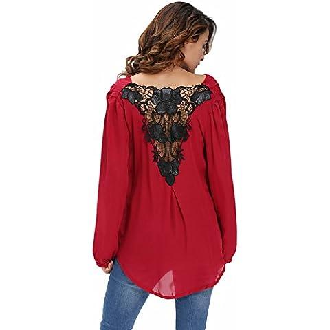 Nuevas señoras rojo Crochet espalda Wrap Front Blusa Top Club wear fiesta wear casual wear ropa tamaño s UK 8–10EU