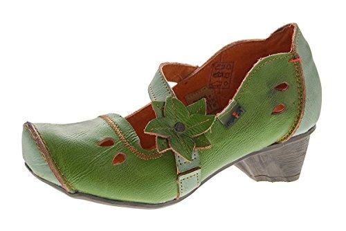 f3f291bd97eea6 TMA Damen Leder Ballerinas Comfort Pumps echt Leder Schuhe Slipper TMA 8766  Grün Gr. 42