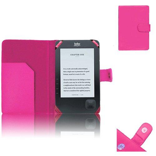 Xtra-Funky Esclusivo: Custodia Pelle Tipo Portafoglio per eReader whsmith' S e-Reader Kobo Wi-Fi Wireless Modello N647--Rosa Vivace (Kobo Wi-Fi Wireless, Hot Pink)