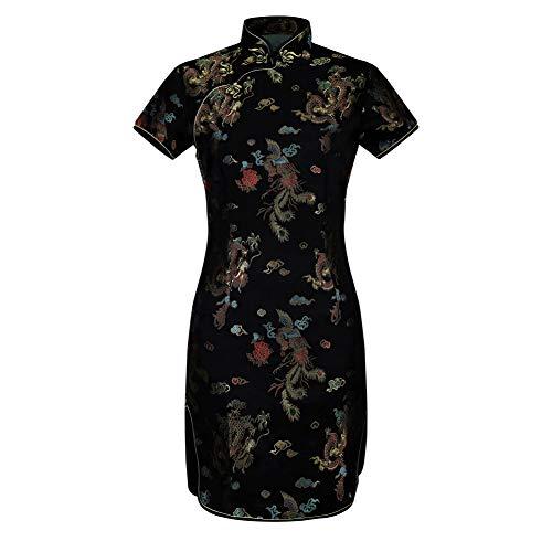 GYYWAN Dame Vintage Dragon & Phoenix Kurze Qipao Elegante Frauen Cheongsam Stehkragen Sexy Mini Chinesisches Kleid Vestidos Oversize 6XL