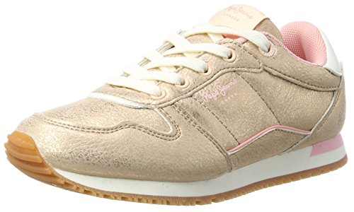 Pepe Jeans London Sydney Metal, Sneakers Basses Fille, Beige