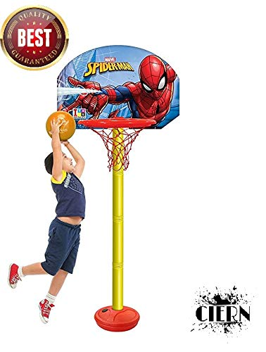 Basketball for Kids by CIERN,Spiderman Height Adjustable Shooting Champ Basketball Set for Kids