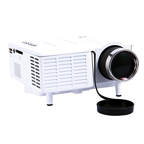 Led Beamer Mini Proyector Projector LCD-Beamer LED-Projektor Heimkino portabel for PC Laptop Mobile phone Wii HDMI VGA SD USB DVD weiß White
