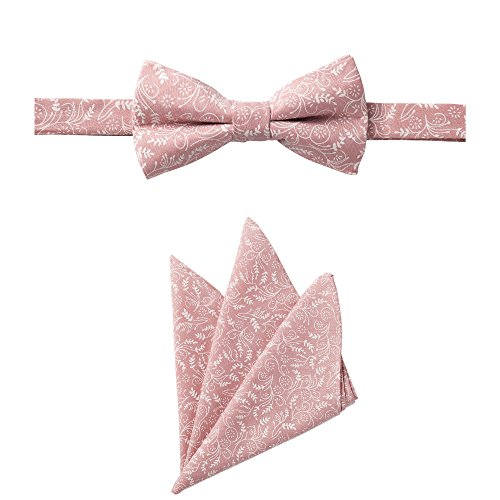 Jacob Alexander Matching Men's Floral Pre-Tied Bow Tie and Hanky Set -Dusty Rose - Pretied Bow Tie