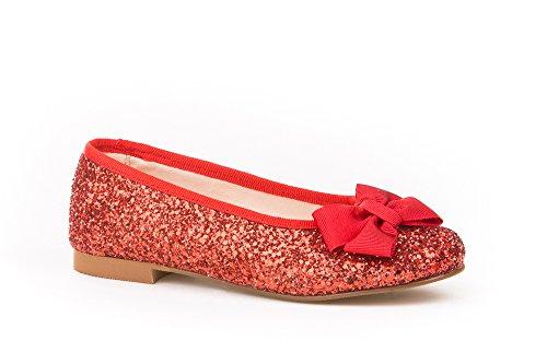 Ballerines pour fille en glitter, tout cuir, mod. 1577. Chaussures pour enfant Made in Spain, garantie de qualité. Rouge