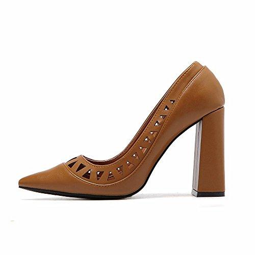 LvYuan-mxx Sandales pour femmes / Été et printemps / Rétro creux PU / Chunky talon / pointe pointu bouche superficielle / Bureau & Carrière / Vêtements / Casual / chaussures à talons hauts COFFEE-36