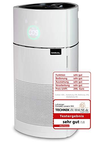 Comedes Lavaero 900 - Moderner 5-Stufen Luftreiniger inkl. Aktivkohle, HEPA-Filter und Ionisator | CADR 380m³/h | Luftqualitätssensor (PM2.5) | Ideal für Allergiker & Raucher | Räume bis 60m²