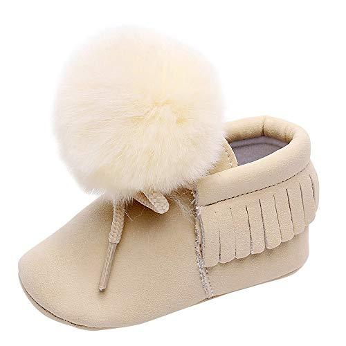 Beikoard Neugeborene Volltonfarbe Tassel Bandage Haar Ball Kleinkind Schuhe Baby Schuhe Einzelne Schuhe Freizeitschuhe Warm Schuhe Rutschfest Schnee