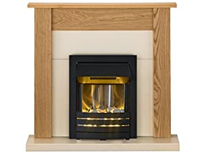 Adam Southwold Fireplace Suite in Oak with Helios Electric Fire in Black, 43 Inch