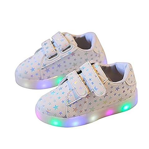 Chaussures Enfant, Chickwin LED Chaussures Lumineuse Bébé Enfant Unisexe Confortable Sneakers Clignotant LED Chaussures (22 / Mesure à l'intérieur (cm) 14, Blanc)