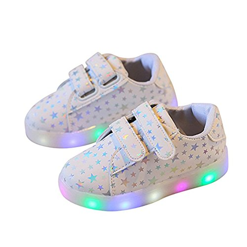 Chickwin Kinderschuhe, Baby LED Kinderschuhe Unisex Weich und Bequem Rutschfest Bunte LED-Leuchten Schuhe Sportschuhe Flashing Schuhe (22/Maß Innen (cm) 14, Weiß) (Air Jordans Schuhe Für Jungen-größe 9)