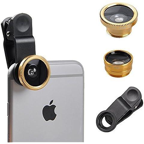 Fone-Case Gold Huawei G9 Plus Clip universale Il 3 in 1 Mobile Phone Camera Lens Kit 180 gradi Fisheye + Macro Lens + obiettivo grandangolare per Android e IOS