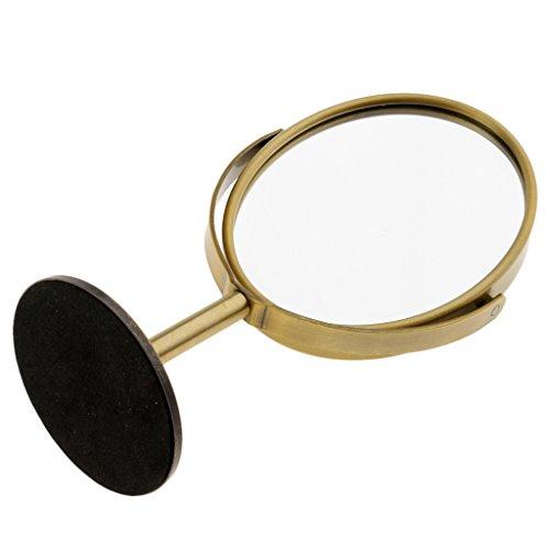 IPOTCH Schminkspiegel Vergrößerungsspiegel Kosmetikspiegel Make up Spiegel Tisch Spiegel - Bronze, 75 x 93 mm