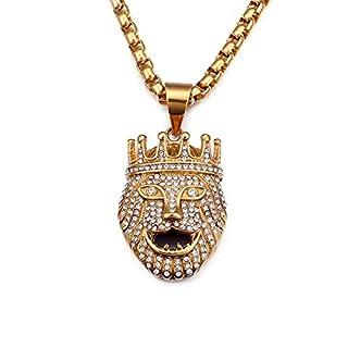 Daesar Men Necklace Stainless Steel Necklace Pendant Cubic Zirconia Necklace Men Lion Head Crown Pendant Necklace Gold