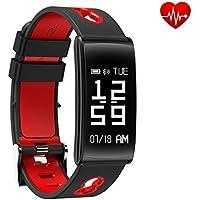Fitness Tracker, Bluetooth 4.0 Fitness Armbänder Smartwatch mit Herzfrequenzmesser, Schrittzähler Schlaf-Monitor, Kalorien Aktivitäts Tracker, Remote Shoot, Anrufen/SMS für Android iOS Smartphone